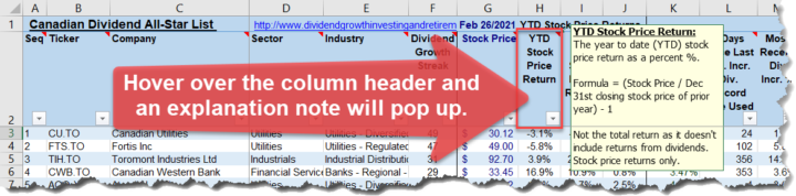 Tip Hover over the column header for an explanation note