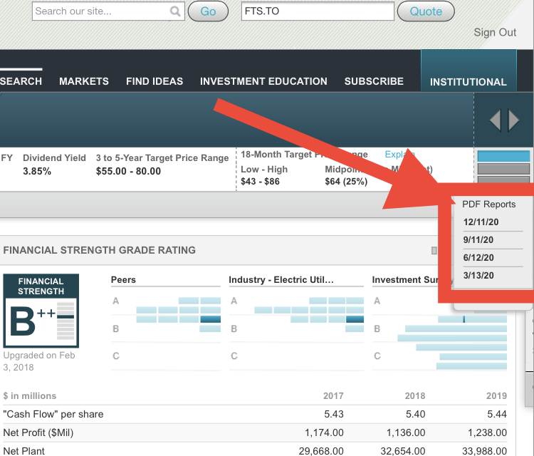 How to find 1 page reports in Value Line - Fortis FTS.TO Example