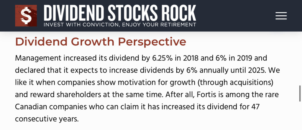 Dividend Stocks Rock (DSR) Fortis FTS Dividend Growth Summary