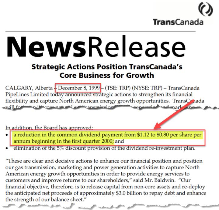 TC Energy TRP formerly TransCanada December 8, 1999 Dividend Cut Announcement